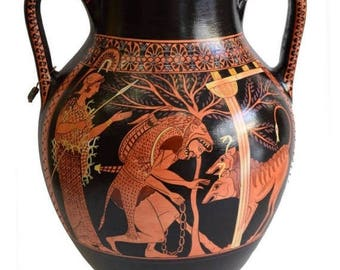 For Sale Heracles and Cerberus - Red Figure Amphora Vase - Museum Replica