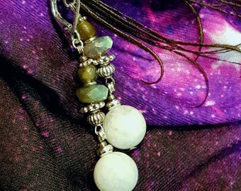 Labradorite & Moonstone Dangle Bohemian  Earrings Green and White Gemstones Stainless Steel  Higher Vibrational Stones Gift for her Witchy