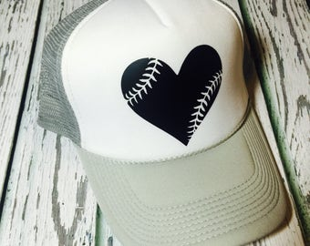 Baseball hat, baseball fashion, baseball heart, baseball trucker hat, baseball love, baseball lover