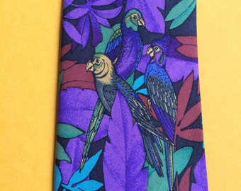 Parrot Necktie,Parrot Tie,Purple Tie,Purple Print Tie,Jungle Necktie,Exotic Tie,Purple Necktie,Wildlife Tie,Bird Necktie,Ellis Tie,Bird Tie