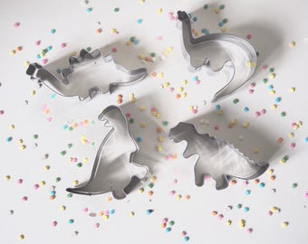 Set of four dinosaur cookie cutters, metal cookie cutters, cookies, biscuits, cake decorating, birthday, party