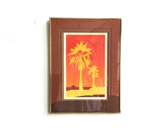 Vintage Framed Serigraph Art / Palm Tree Framed Art / Original Signed Artwork / Tropical Island Wall Art / Red Orange Yellow Sandy Beach