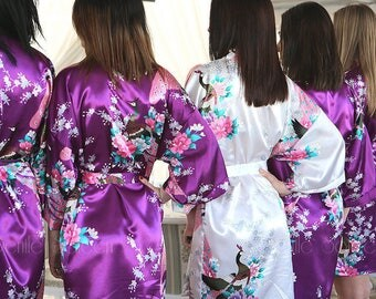 Set of Bridesmaid Robes, Bridesmaids Satin Kimono Robes, Silk Robes for Bridesmaid, Plus Sized Robes, Bridal Robe, Fast Ship from NY