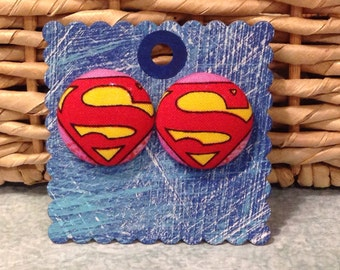 Super Girl Earrings, covered button earrings, comic book fabric