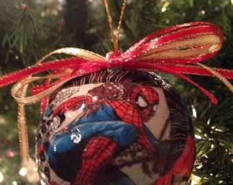 Spiderman Fabric Christmas Ornament, decoupage fabric ornament, Super Hero Ornament
