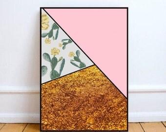 "Minimalist art, cactus art print, Scandinavian poster, Scandinavian print, abstract wall art, graphic poster, geometric - ""Cactus and gold""."