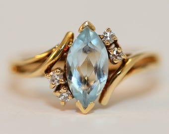 Vintage Marquise Cut Aquamarine Set in Yellow Gold Size 6.25 - March Birthstone