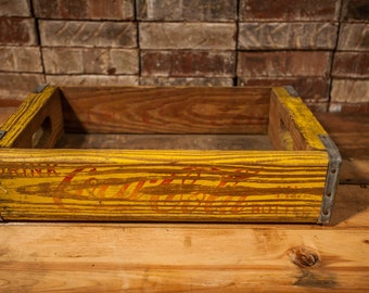 Vintage Coca Cola Wooden Crate Box Metal Rustic Carrier Yellow Red Miller Mfg Co Richmond Virginia FREE SHIPPING