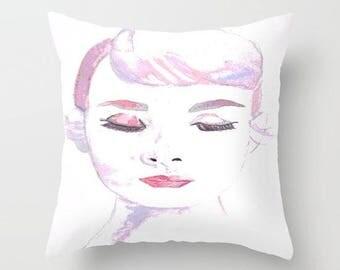 Pink Audrey Hepburn Throw Pillow Cover