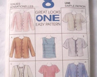 Uncut Sewing Pattern, 1996 McCall's 8155, 8 Great Looks, One Easy Pattern, Top and Jacket, Sewing Supply
