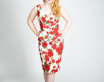 Floral peplum pencil dress, Pinup dress, special occasion, wedding guest, mother of the bride, wiggle dress, 1950's dress, Madmen inspired