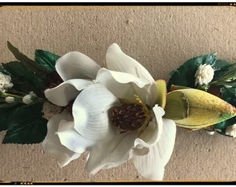 Magnolia Headband made with silk florals and leaves.  Ribbons attached for easy adjustments