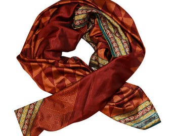 Dark orange patterned womens wrap / scarf with gold patterned trim - 'Parisa'