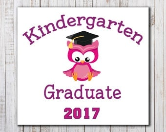 Printable Kindergarten Graduation Iron On, Graduate Printable, DIY Graduation Shirt, Kindergarten Owl Shirt, Kindergarten Graduation Gift
