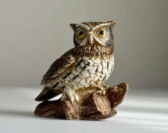 Vintage, Decorative ,Ceramic Owl, Owl Figurine,Homco bisque owl