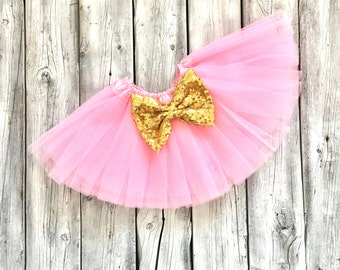 Pink and gold tutu, pink and gold glitter tutu, princess tutu, birthday tutu, newborn, baby, toddler, girl, pink and gold birthday, tutu
