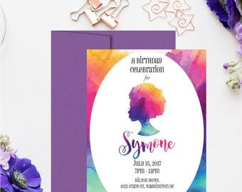 Set of African American Birthday Invitations