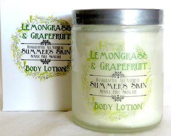 Summer's Skin Lemongrass & Grapefruit Body Lotion,  Handcrafted, All Natural