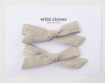Schoolgirl Pigtail Bow Set-Natural Linen, Baby bow, toddler clips, bow clips, linen pigtail clips, baby bow clips, linen baby bow clips