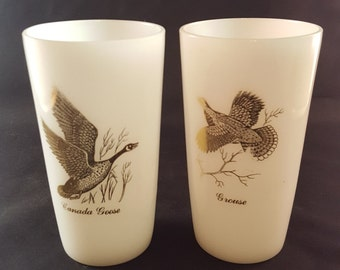 SALE - Milk Glass Wild Game Bird Glasses - Set of 2