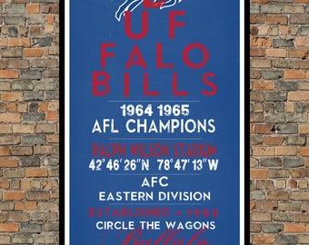 Buffalo Bills - Eye Chart chalkboard print - sports, football, gift for fathers day, subway sign - Eyechart wall art