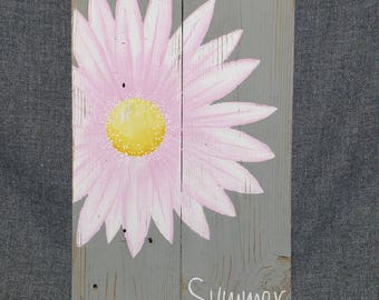 Pallet art, Summer flower decor, Pale Pink Gerber daisy, Distressed Reclaimed wood, Hand painted, gray and pink, girl nursery decor, Summer