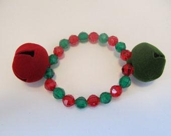 Christmas Jingle Bell Beaded Stretch Bracelet, Christmas Gift, Gifts for her, Gifts for girls, Gifts for kids, Jingle Bell Bracelet