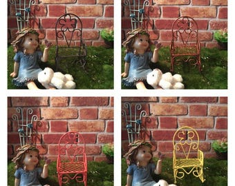 Adorable Rustic fairy garden rocking chair made from wire. Curls and flowers galore!  Rustic fairy garden furniture assorted colors