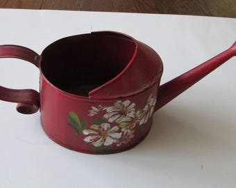 Vintage Small Red Watering Can Sprinkler Painted Flowers