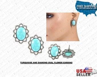 "TURQUOISE And Diamond Oval Flower Earring 0.925 Sterling Silver  ""Custom  Made"", Blue Flower Earring, Diamond Findings, Unique Earring"