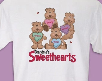 Personalized My Sweethearts TShirt Great Gift for Mothers or Grandmothers Personalize with Childrens Names