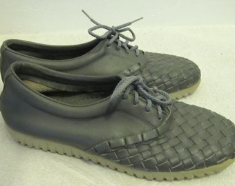 Women's Vintage 70's Gray WOVEN Front BOHO Wedge Heel Shoes by ARMADILLOS.7.5N