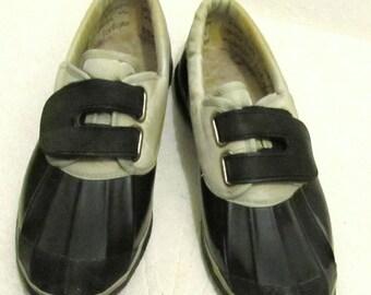 Womens Vtg 80's 2-Tone VELCRO Close DUCK Shoes By FANFARES.6.5