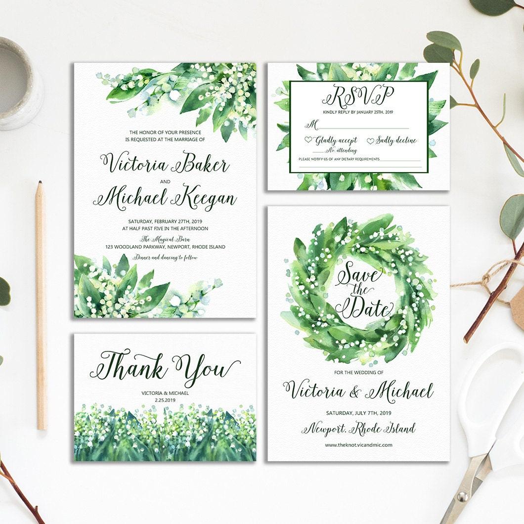 White Wedding Invitations: Greenery Wedding Invitation Natural White And Green Wedding