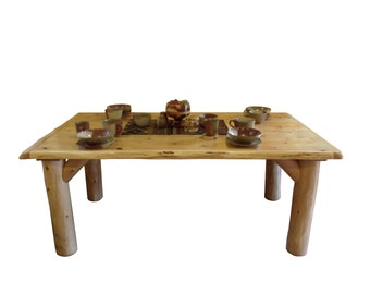 Rustic white cedar log dining table with 8 chairs live edge for Dining room table 60 x 36