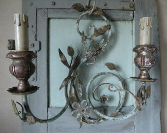 Vintage antique wall sconces candelabras boudoir bohemian french shabby chic
