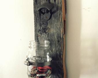 Wall mount Bottle opener / Rustic bottle opener / Mason Jar / Wooden Bottle Opener