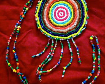 Large and long bullseye native hand craft Woodstock authentic 60's American Indian folk art beaded