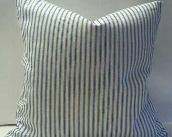 Classic Blue and White Ticking Stripe 18 x 18 Pillow Cover.100% cotton.
