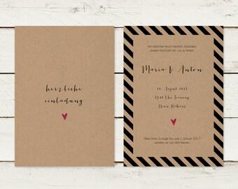 Wedding invitation | Kraft paper | Stripes