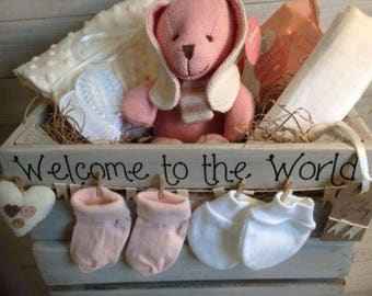 Adorable Baby Girl Gift Hamper in Wooden Crate - Knitted Pink Bunny - Newborn/Baby Girl/baby shower