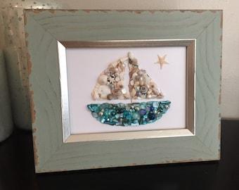 Sailboat picture - sailboat art - seashell picture - shell wall hanging - sailboat decor - beach decor - seashell sailboat