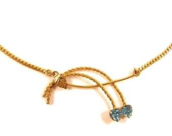"""Vintage Light Blue Rhinestone Floral 14K Gold Filled Leaf Necklace*16-1/8""""*Y802"""