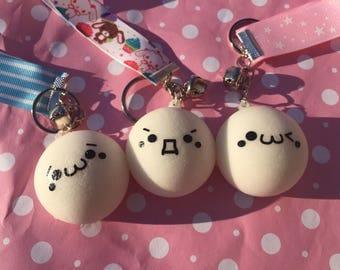 Kawaii squishy white steam   cute keychain fob landyard emoji style