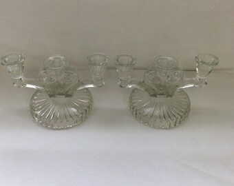 Vintage glass candle holders, Two Glass arm, Three candle holder, Fluted base, Round base,