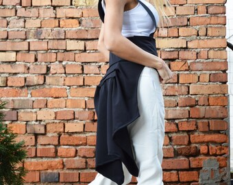 Extravagant Black Stripes Vest, Asymmetrical Unique Casual Vest, Amazing Trench Coat, Womens Maxi Top by SSDfashion