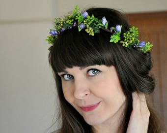 Ready to ship Bridal flower crown Floral crown Flower girl halo Wedding flower crown Green flower crown Photography Flowers Girl LV12