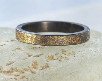 Stardust Wedding Ring | Sterling Silver and 18ct Gold | Handmade in the UK