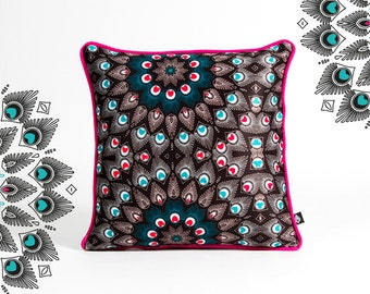 Square pillow 40 x 40 cm motif Peacock manufactured in France and hand