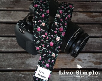 DSLR Camera Strap Rock & Roses | Accessories | Soft Cotton | Live Simple®